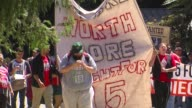 KTXL Fast Food Workers Protest in Sacramento on August 25 2015 Advocates fighting to increase the minimum wage to 15 dollars an hour protested at the...
