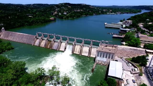Fast Motion Aerial Open the Flood Gates Colorado River Dam Aerial View Austin Texas