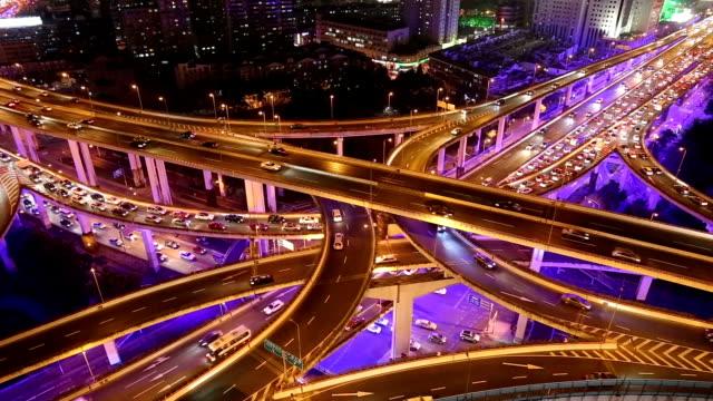 Zeitraffer-Shanghai Highway bei Nacht