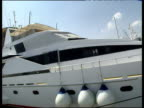 Fast pan right along side of large white yacht moored in Marbella against pale blue sky