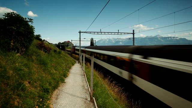 fast train passing vineyard in Switzerland