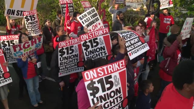 KSWB Fastfood workers and others protested in San Diego as part of a continuing campaign for a $15an hour minimum wage