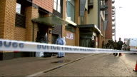 Fatal stabbing of 52 year old man in Enfield four boys arrested ENGLAND North London Enfield The Broadway EXT Forensic officers and police in...