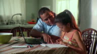 MS Father and daughter (6-7) doing homework on kitchen table, Panama City, Panama