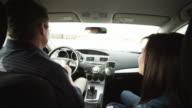 MS Father and daughter (16-17) singing in car / Orem, Utah, USA