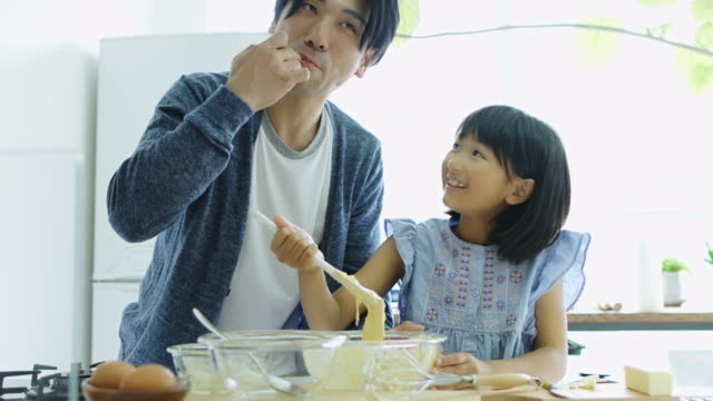 Father and Daughter Tasting Cake Mix