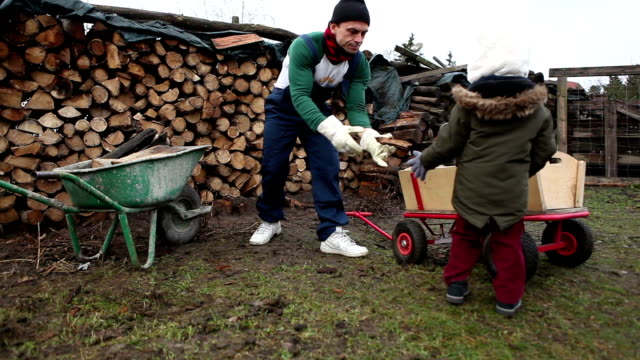 Father and son hardworking on a firewood at the countryside