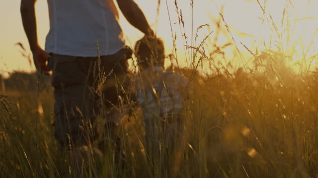 SLO MO Father holding son's hand in a meadow