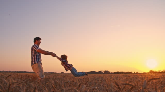 Father spinning his son in wheat field at sunset