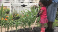 MS PAN Father teaching daughter to use hoe in vegetable garden / Richmond, Virginia