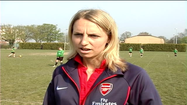 Faye White promotes women's football before UEFA Cup Final Faye White interview SOT On difficulties of girls accessing football when she was growing...