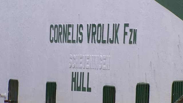 Fears UK fishing industry losing out on 235 million pounds and 2700 jobs NETHERLANDS EXT Wide shot of fishing trawler Cornelis Vrolijk H171 moored at...