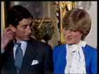 February 24 1981 MS Prince Charles and Lady Diana talking to the press shortly after announcing their engagement/ London England/ AUDIO