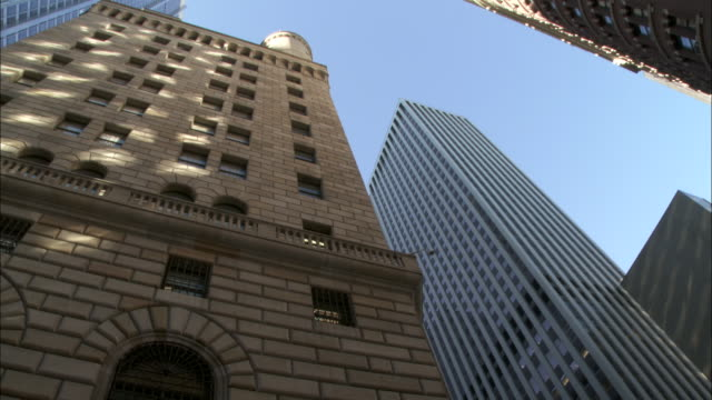 Federal Reserve Bank of NY building on Liberty Street in Lower Manhattan NYC Wall Street Financial District downtown lighting architecture