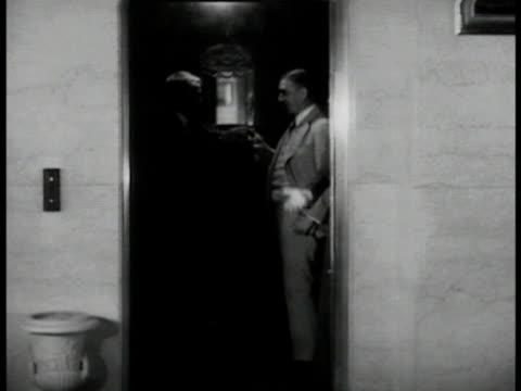Federal Reserve Chairman Marriner Eccles getting into car Senators Capper Bailey in elevator in Mayflower Hotel Senator James Couzens getting into...