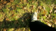 Feet walking in grass in the park