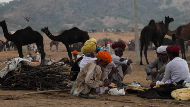 Fellow traders sharing an evening meal together at the Pushkar cattle fair in Rajasthan , India
