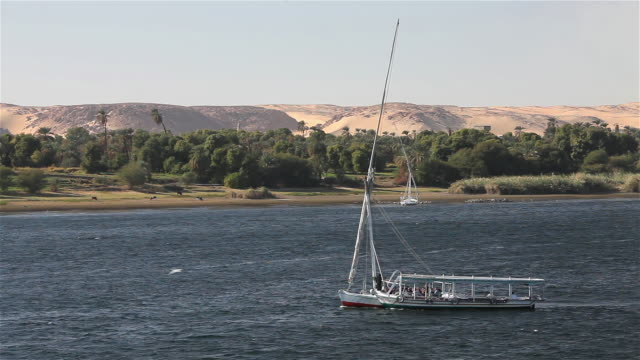 Felucca Tows Passenger Boat on the River Nile