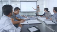 Female Asian architect presenting the plans on a large screen in the conference room