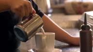Female barista makes a cafe mocha/cappuccino