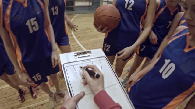 POV of female basketball team listening to coach