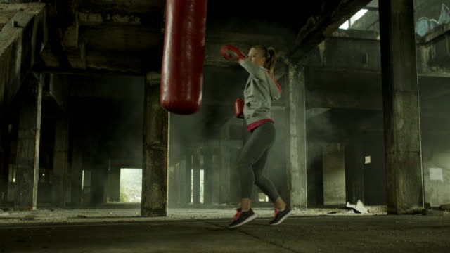 Female boxer training