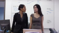 Female business executive and her colleague working together in the office