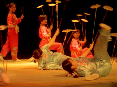 Female circus artists balance spinning plates on sticks while performing synchronised movements, China