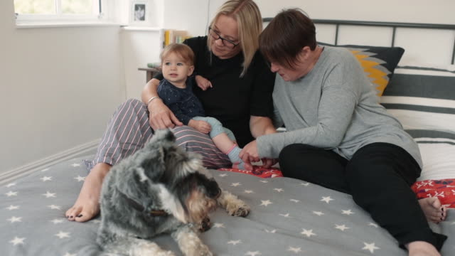 Female couple, baby and dog on bed