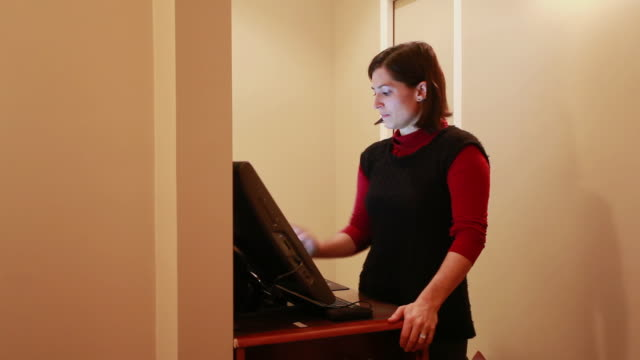 MS Female doctor at her computer screen / Toronto, Ontario, Canada