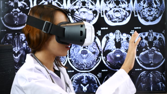 Female Doctor using Virtual reality, Healthcare And Medicine Concept