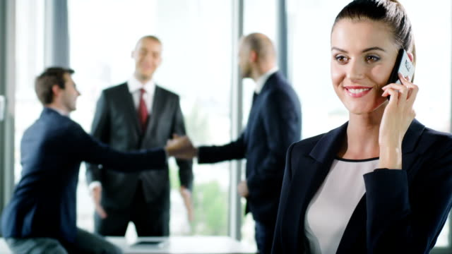 Female executive smiling