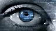 Female eye with program code. Futuristic. Technology. Dark.