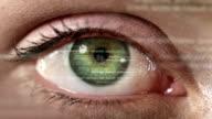 Female eye with program code. Futuristic. Technology. Green-Blue.