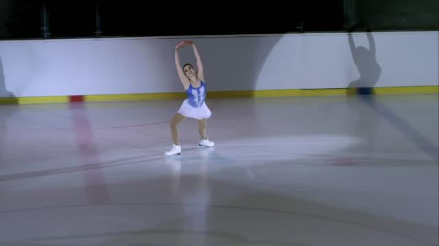 Female figure skater performing in short program
