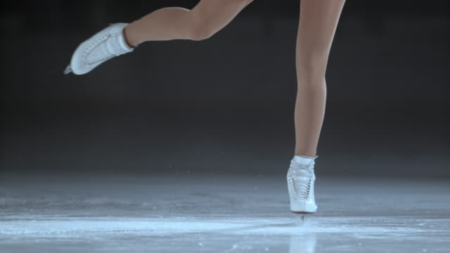 SLO MO Female figure skates in a spin