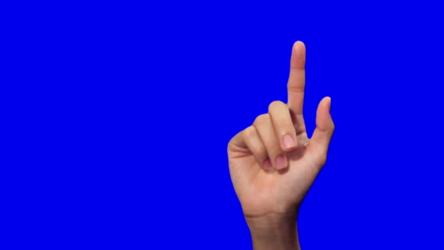 Female hand, touchscreen gestures on blue screen