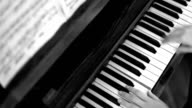 Female hands playing piano, Black and White