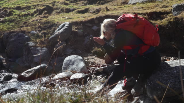 Female hiker scoops water from creek to drink, mountains