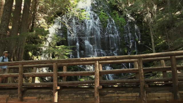 WS Female hiker walking across wooden footbridge by waterfall in Mt Hood National Forest / Portland, Oregon, USA