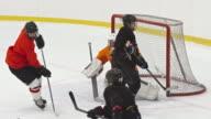 Female ice hockey goalie making three saves in a row