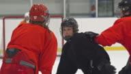 Female ice hockey players having a brawl