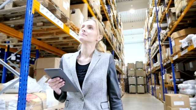 Female inspector in distribution warehouse