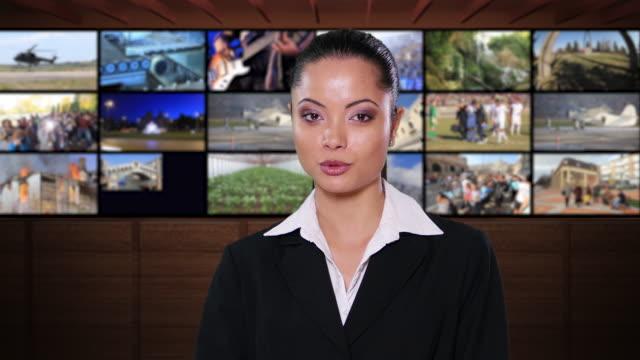 4K Female newsreader with black suit on green background