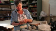 MS Female potter working in her studio / Santa Fe, New Mexico, United States