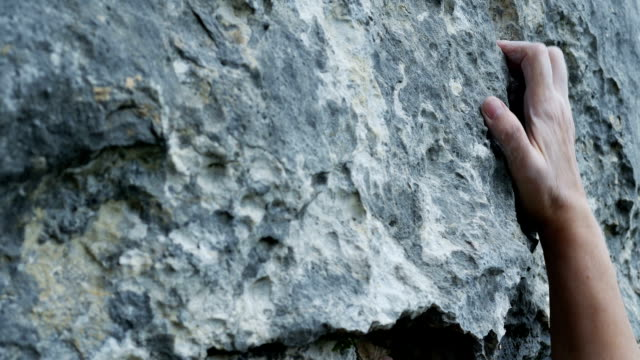 Female Rock Climber Close-up (4K/UHD to HD)