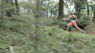 AERIAL Female runner running through the forest