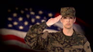 Female Soldier Salute with US Flag Background