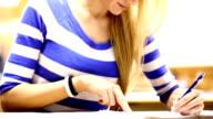 Female student in class.