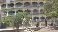 A female suicide bomber blew herself up Wednesday during an address by Somalia's prime minister in Mogadishu killing four people including the...